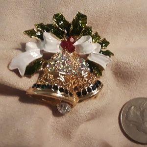 Christmas Pin, Brooch, Rhinestone, Holiday Acesory